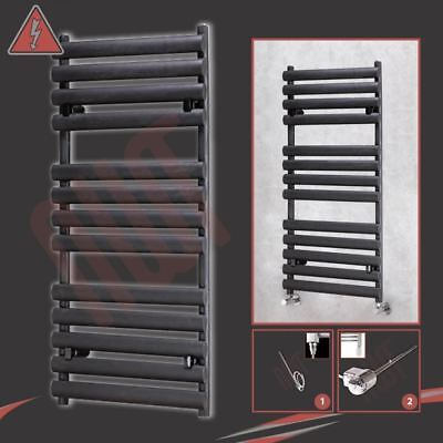 "500mm(w) x 1200mm(h) ""Brecon"" Black Electric Heated Towel Rail - 400W or 600W"