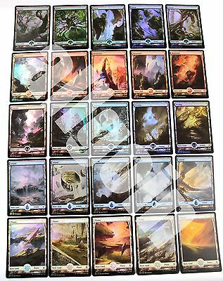 MTG BFZ 25x FOIL BASIC LANDS (1 COMPLETE SET) Battle for Zendikar FULL ART NM