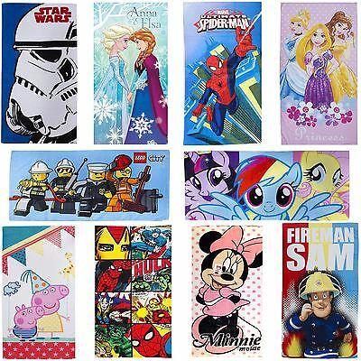 100% Cotton Kids Disney & Character Beach Bath Towels - Wide Range Of Designs