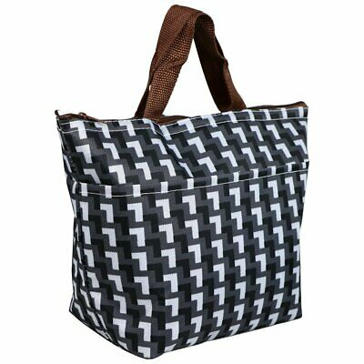 Black & White Grid Patterned Lunch Picnic Cooler Bag Insulated Carry Tote - By