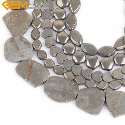 """Wholesale Natural Stone Genuine Pyrite Gemstone Beads For Jewelry Making 15"""""""