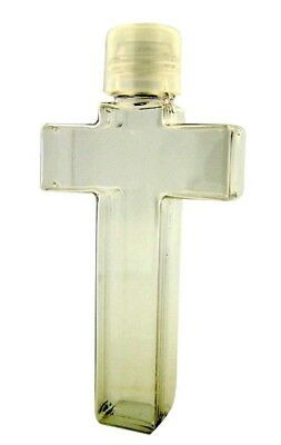 Moulded Plastic Clear Cross Shape Holy Water Bottle with Screw Top Lid 3/4 Ounce
