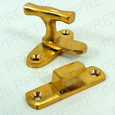 NEW BRASS SHOWCASE FASTENER CATCH Thumbturn Cabinet Display Cupboard Lock Latch
