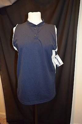 Champro Sports M  Navy Sleeveless Shirt Womens Dri Gear Performance Athletic New