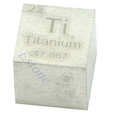 1PC 99.5% High Purity 10mm Cube Titanium Ti Metal Carved Element Periodic Table