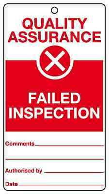 Failed inspection quality assurance tie tags FREE P&P various quantities QT1T