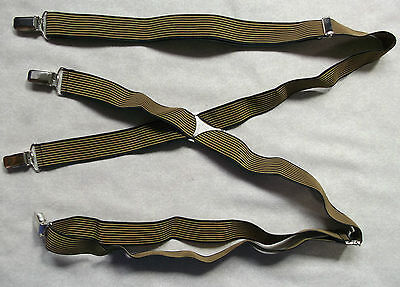 VINTAGE 25mm SKINHEAD SKA CLIP ON BRACES 1970s ONE SIZE MENS BLACK GOLD STRIPED
