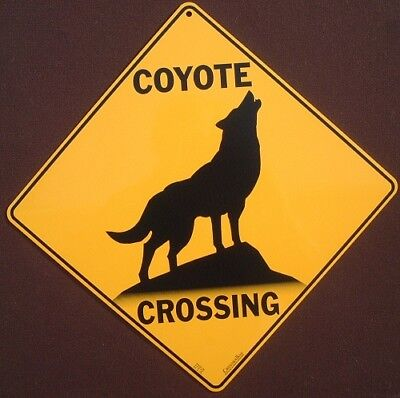 COYOTE CROSSING Sign ALUMINUM art novelty decor animals home wildlife silhoutte