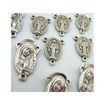 Lot of 10 Silver Tone Saint Mary and Miraculous Medal Rosary Centerpiece Parts