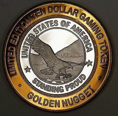 $10 Dollar Golden Nugget Limited Edition USA Gaming Token Fine Silver Center