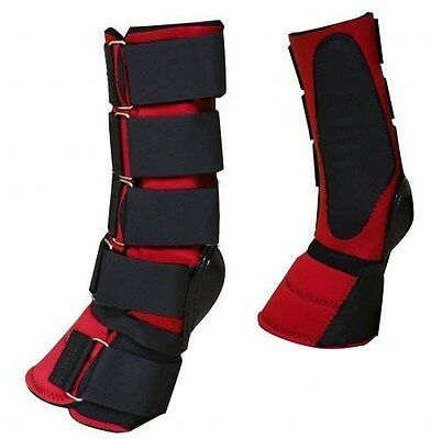 Showman RED Adjustable Neoprene Combination Bell Boot! NEW HORSE TACK!