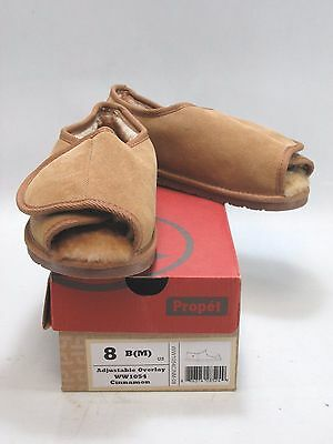 PROPET Women's ADJUSTABLE OVERLAY Brown Suede Hook-and-Loop Scuff Slippers US 8M