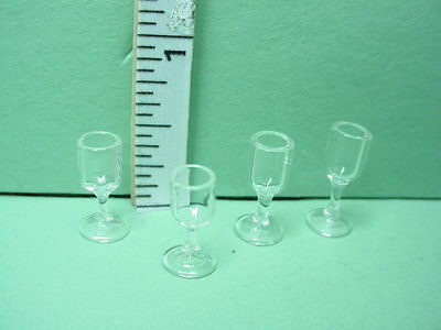 Dollhouse Miniature Wine Glasses Set of 4  Bright Delights # HB008 1/12th Scale