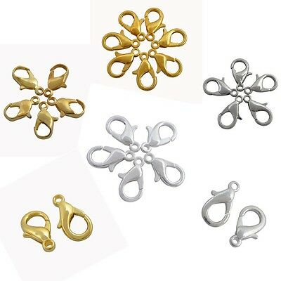 12 16 20 mm Gold&Silver Plated Lobster Clasps Hooks Charms for Necklace Bracelet