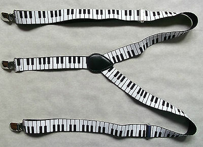 CLIP ON BRACES 1990s ONE SIZE MENS BLACK WHITE PIANO KEYBOARD MUSIC