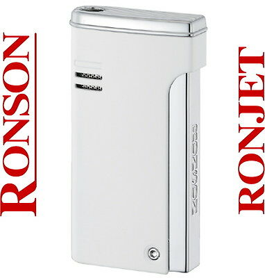 Ronson Dalliance Ronjet White Lacquer Jet Torch Flame Lighter New Gift Boxed