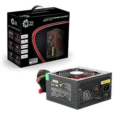 ACE 650W Black ATX Gaming PC PSU Power Supply 120mm Red
