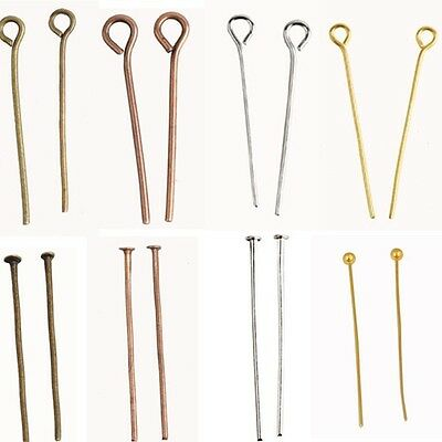 200 Pcs Gold Silver Plated Eye Pin Flat Head Pins Findings 20/22/24/26/30/32mm