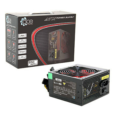 ACE 850W Black ATX Gaming PC PSU Power Supply 120mm Red