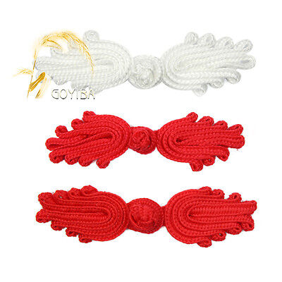 5 Pair Handmade Solid Color Chinese Frogs Closure Knots Buttons Ribbon Fasteners