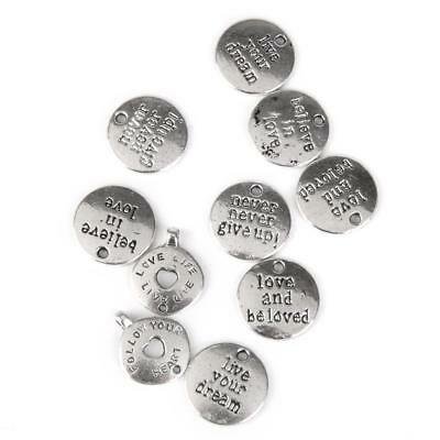 10Pcs Tibetan Silver Round Wishes Themed Charms Pendants Jewellery DIY Craft
