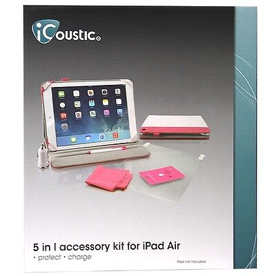 iCoustic 5-In-1 Accessory Pack For iPad Air - Pink + White - Protect Charge Case