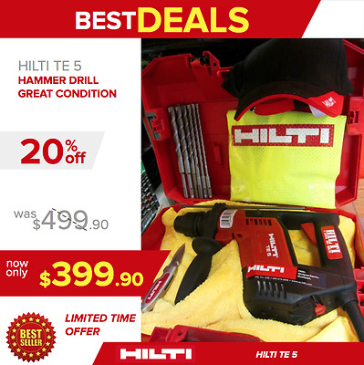 Hilti Te 5 Hammer Drill, Free Sets Of Drill Bits & Extras, Made In Germany