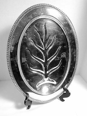 Vintage Silverplate Oval Footed Meat Serving Tray Fluted Edge Wm Rogers