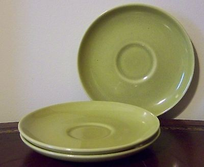 Russel Wright Iroquois Casual Avocado Yellow Saucers Set of 3 Vintage Modern