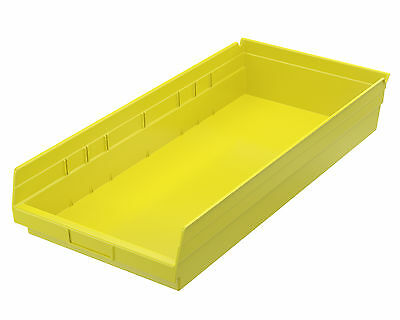 Akro-Mils Shelf Bin 23-5/8D x 11-1/8W x 4H Yellow  6 pack