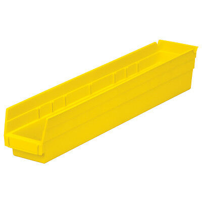 Akro-Mils Shelf Bin 23-5/8D x 4-1/8W x 4H Yellow  12 pack