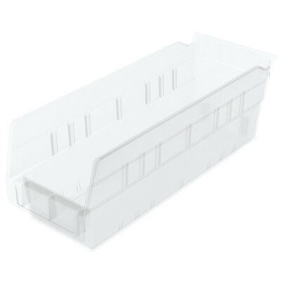 Akro-Mils Shelf Bin 11-5/8D x 4-1/8W x 4H Semi Clear  24 pack