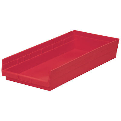 Akro-Mils Shelf Bin 23-5/8D x 11-1/8W x 4H Red  6 pack