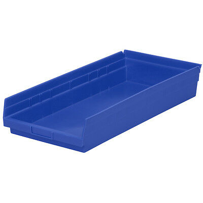 Akro-Mils Shelf Bin 23-5/8D x 11-1/8W x 4H Blue  6 pack