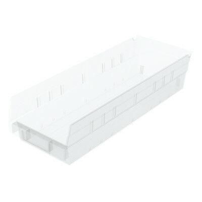 Akro-Mils Shelf Bin 17-7/8D x 6-5/8Wx 4H Semi Clear  12 pack