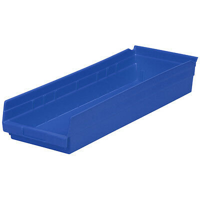 Akro-Mils Shelf Bin 23-5/8D x 8-3/8W x 4H Blue  6 pack