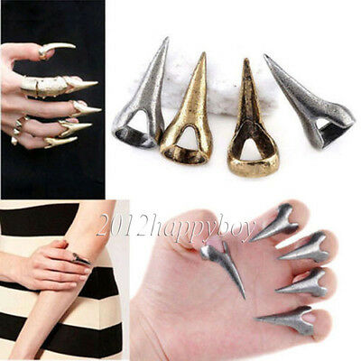 1/5PCS Unisex Vintage Goth Punk Paw Claw Ring Talon Long Nail Finger Tip Ring