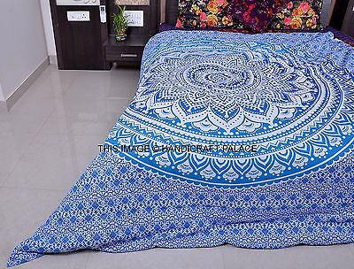 Blue Ombre Mandala Duvet Cover Queen Indian Quilt Cover Cotton Throw Doona Cover