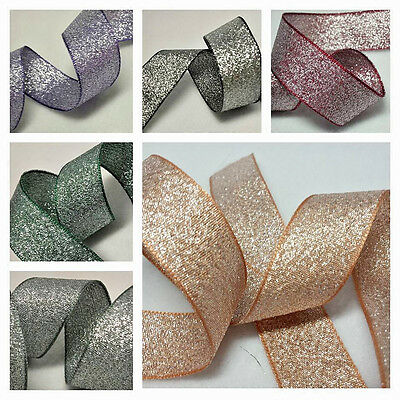 1m x 10 15 25mm BERISFORDS RIBBON RAZZLE SILVER COLOUR SHIMMER METALLIC SPARKLY