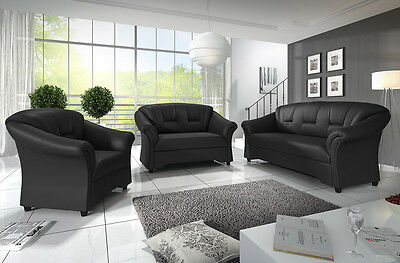 3 & 2 and 1 Seater Sofas New Candy / Texas Settee Black or Brown Faux Leather