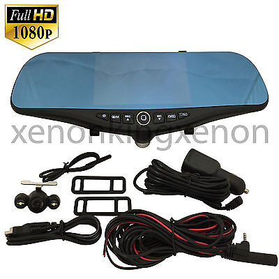 New Blue Tint 1080P HD Front//Back Camera Recorder Rearview Mirror#m37 Toyota