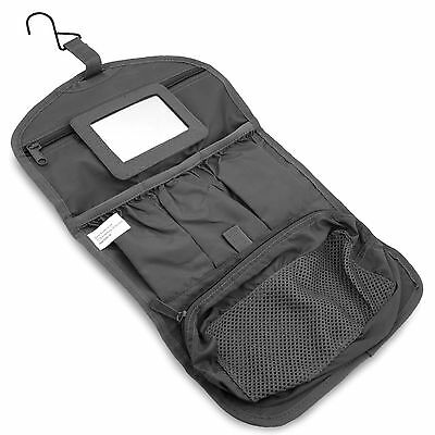 Mens Military Hanging Folding Wash Toiletry Toiletries Bag Kit Pouch Hook Black