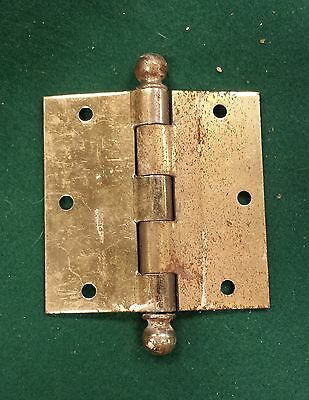 """Steel door hinges brass plated 3 1/2"""" X 3 1/2"""" up to 12 available"""