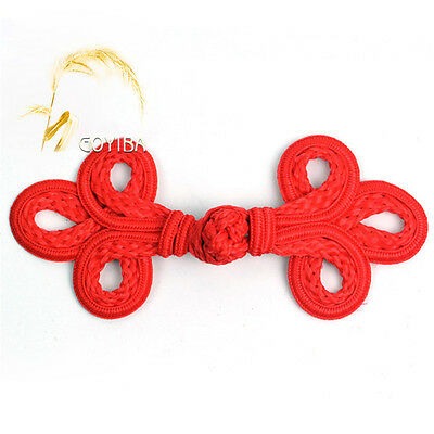 5 Pair Handmade Red Chinese Dress Frogs Closure Knot Buttons Fasteners DIY Craft