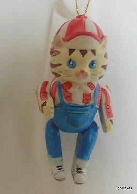 Vintage Kitty Cat Boy with Overalls and Ball Cap Ornament Movable Arms & Legs