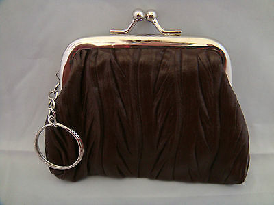 Change purse coin brown crinkled vinyl silver metal frame kiss clasp key ring