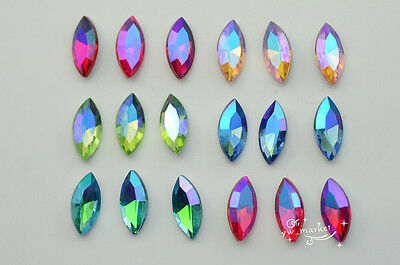 100 PCS 7mm x 15mm Glass Color Purple Faceted Glass Navette Jewels