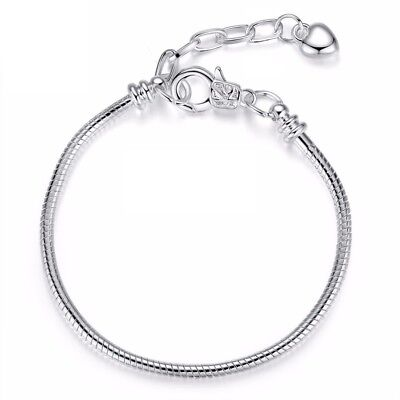 Silver PlatedSnake Chain Charm Bracelets For European Sterling 925 Charms Beads