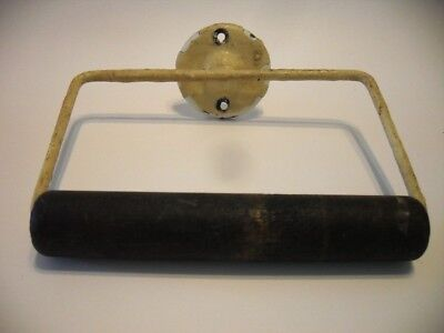 Vtg Toilet Paper Holder Old White Chippy Paint Black Wooden Spool Round bracket