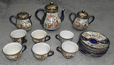 fine antique Japanese Kozan Satsuma tea set pot sugar creamer cup saucer for 6